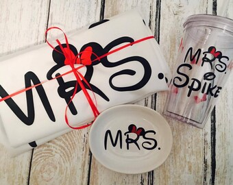 Disney Bridal Shower Gift Set - Disney Bride Gift - Disney Tshirts - Disney Bride Ring Dish - Disney Bride Tumbler