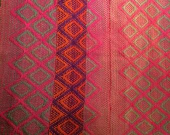 "Vintage handwoven Peruvian rug 63"" x 56"""