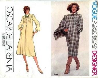 FREE US SHIP Vogue 1756 Vintage Retro 1970's 70's American Designer Oscar de la Renta Dress Shawl Sewing Pattern ff 2 sizes Left 10,12