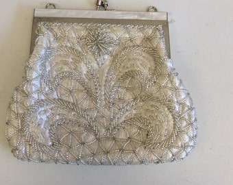 Silver Color Beaded Evening Bag with Mother of Pearl Top