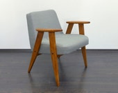 Reupholstered 60's Mid-Century lounge chair armchair vintage design retro