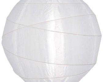 "18"" Irregular Ribbed White Nylon Lantern, Durable, Hanging (Light Not Included) - 18NYIRR-WH"