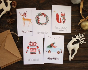Set of 5 Christmas cards, Holiday greetings cards