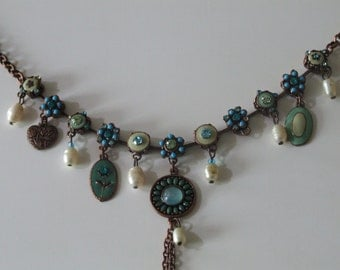 Copper and enamel necklace