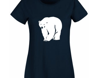 Womens Christmas T-Shirt with Polar Bear / Alternative to a Christmas Jumper