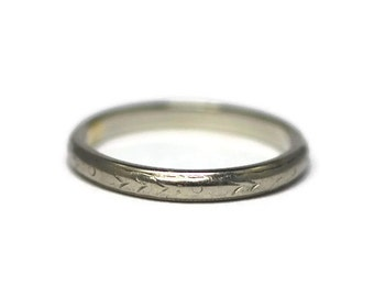 Engraved white gold 18k ring - Belais - Size 6