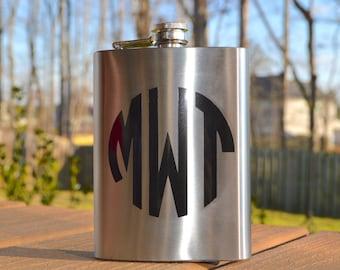 Monogram flask, 21st birthday gift, sorority gift, groomsmen gift, wedding party gift, personalized flask, graduation gift, bachelor party