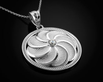 Sterling Silver Armenian Eternity Shield CZ Pendant Necklace