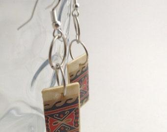 Ukrainian Découpage earrings, wood