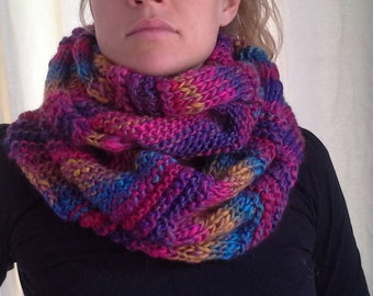 Circular scarf. Variegated jewel colours. Acrylic wool blend