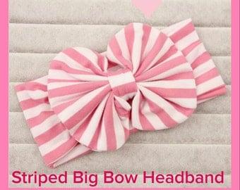 Big Bow Headband Pink and white stripes Easter bow headband