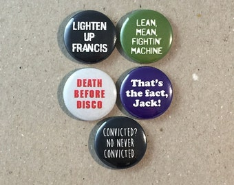 Stripes Movie Quotes Bill Murray Fan Art 5 - 1 Inch Button Badge Pinback Pin Set