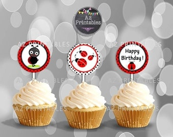 Printable cupcake topper, theme, birthday, party, digital,instant download, red,ladybug , 300dpi,happy birthday