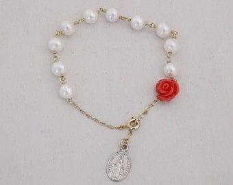 Lily Rose Rosary Bracelet, Rosary Bracelet, Prayer Bracelet, Rose Rosary Bracelet