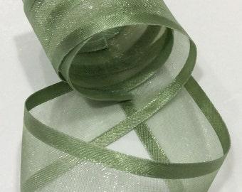 Green Satin Edged Chiffon Ribbon