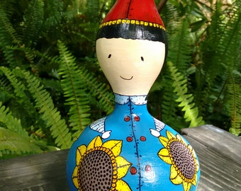 Hand painted gourd - Sunflower