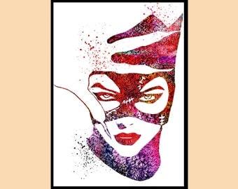 Catwoman, Catwoman Print, Print, Marvel, Superhero,Watercolor Art,Kids Room Decor,Poster, Superhero, Print,gift (05)