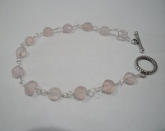 """7 1/2"""" Rose Quartz sterling silver bracelet with toggle clasp"""