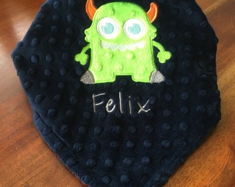 Monster Lovey Security Blanket, Navy Minky Blanket, Personalized Baby Blanket