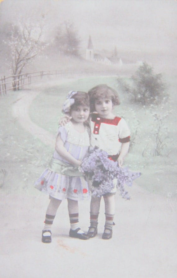 Set of Two Vintage French Postcards, Black & White/Hand Colored Photo's, Children and Couple, Unused