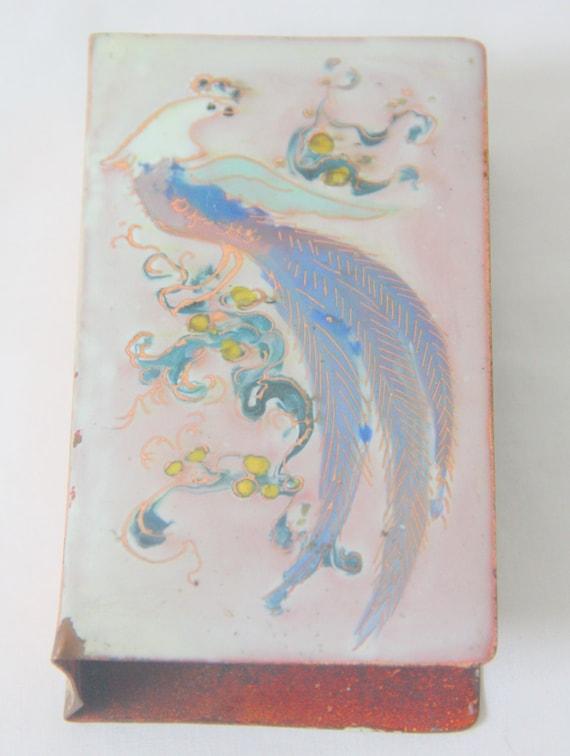 Vintage Brass and Pink Enamelled Matchbox Holder, Large Model, Peacock Decor