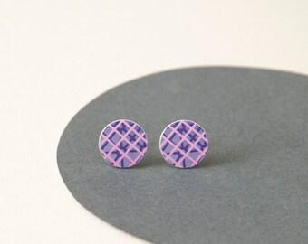 Purple and Pink Stud Earrings - Pattern Play - Pattern studs