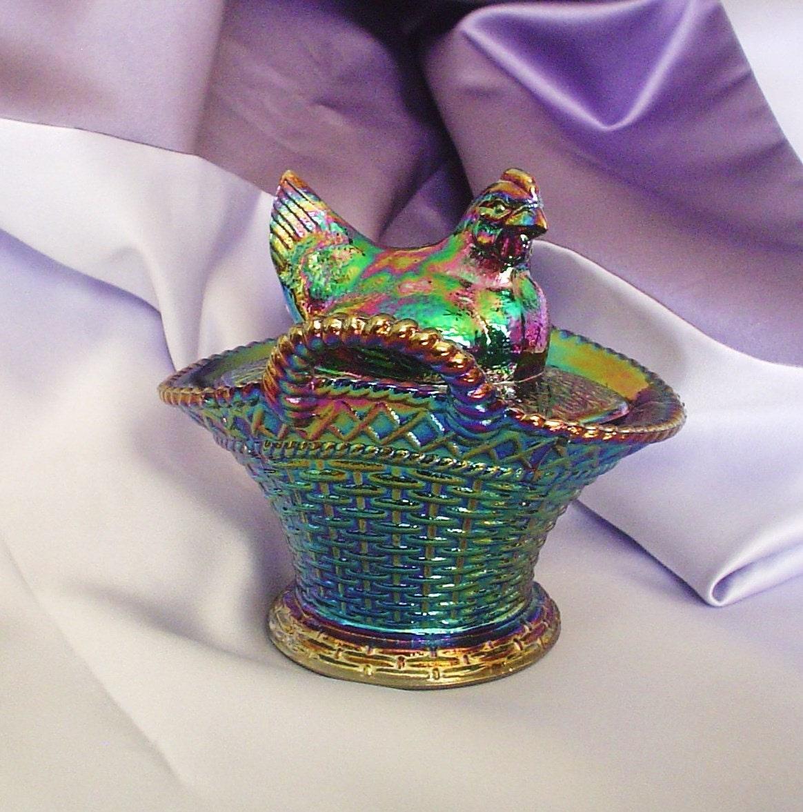 Westmoreland Glass Hen Carnival Glass Hen On Nest Chick On