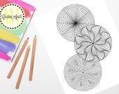 Printable Adult Coloring Book Page, Paradox Circles Mandalas  Instant Download, Hand-Drawn, Zentangle Inspired Colouring, DIY Wall Art