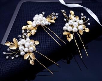 Crystal Hair Pins, Gold Hair Pins, Wedding Hair Pins, Bridal Leaf Hairpins, Rhinestone Hair Pins, Bridal Headpiece, Bridal Comb Crystal Comb