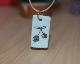 Hand painted Ceramic Cherry Blossom Pendant Necklace