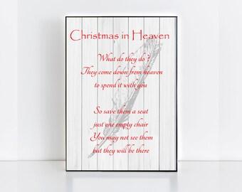 Memorial Christmas Plaque, Christmas in Heaven,