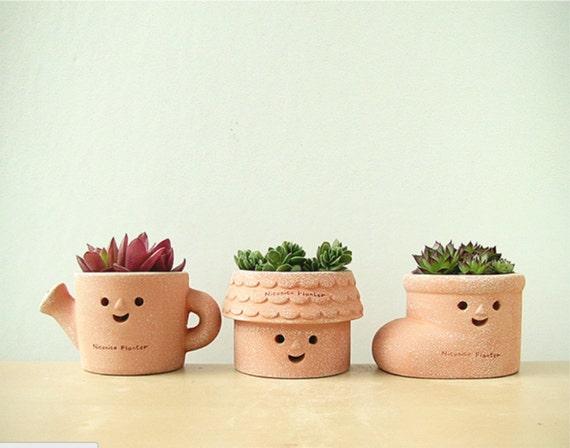 Cute Clay Planters Succulent Planter Cute Set Of Planter