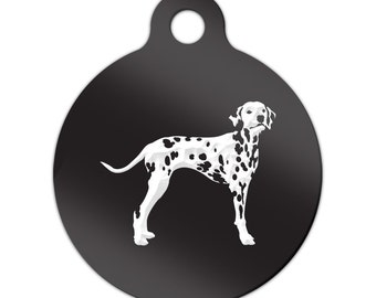 Dalmatian Engraved Round Key Chain Dog Tag dal - MRD-850