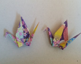 Made to Order - 100 Handmade Small Origami Paper Cranes - Kimono Print Pattern - Great for weddings and parties