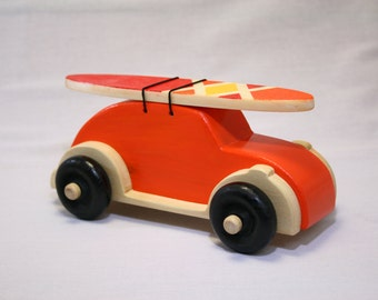 """VW Bug Wood Toy-Orange-With Removeable Surfboard-""""Surf Bug"""""""