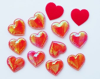 100 Pcs -  Heart Love Shiny Red Fabric Padded Appliques - ERW.35