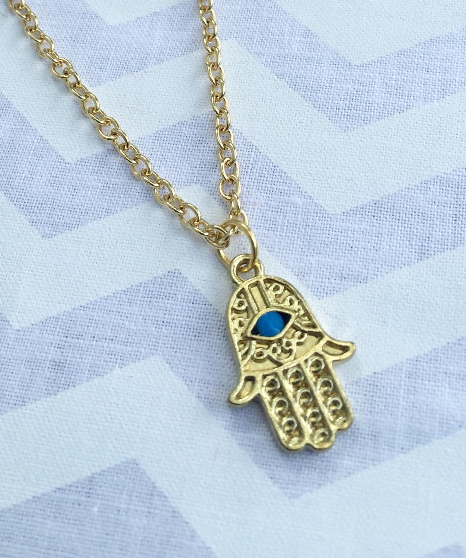 Gold hamsa hand necklace bohemian necklace gold neckalace