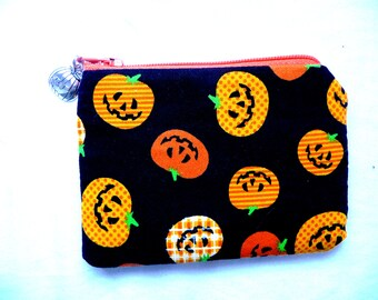 coin purse with pumpkins