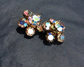 Lovely AB flower shaped clip earrings