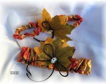Fall Autumn Wedding Bridal Garter Set, Fall Wedding Garter, Autumn Garter, Orange Garter, Fall Bridal Garter, Autumn Bridal Garter