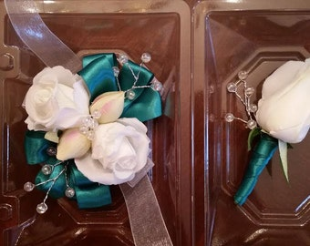 Dark Teal Ribbon & White Rose Wrist Corsage with Matching Boutonniere  Prom Set