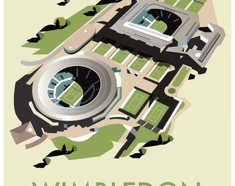 Wimbledon Championship Travel Print, London, Tennis poster