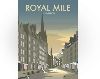 Royal Mile Greeting Card, Edinburgh, Travel Art Print, Scotland