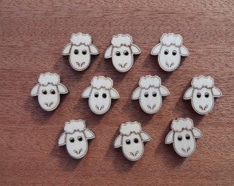 Wooden Sheep Buttons (pack of 5 or 10)