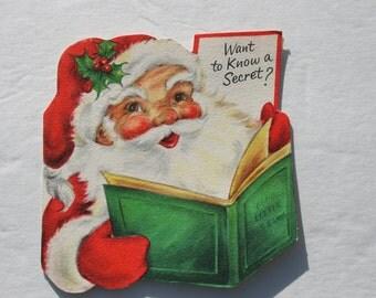 Vintage Die Cut Santa Claus 1950s 50s Hallmark Christmas Card