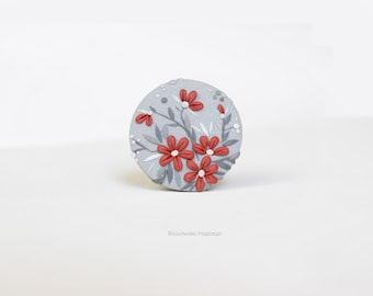Brooch Flower vinous round