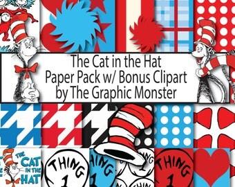 Cat in the Hat Scrapbook Paper, Digital Paper, Dr. Seuss, Seuss Scrapbook Paper, Cat in the Hat Digital Paper, Instant Download Disney Paper