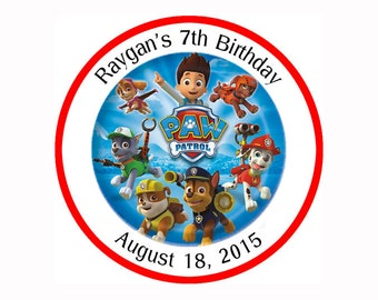 Paw Patrol Personalized round Stickers, Party Favor birthday label - Printable