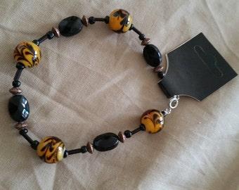 Glass Tigers Eye Beaded Bracelet