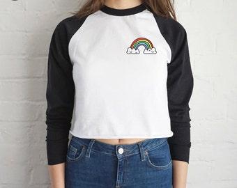 Rainbow Pocket Crop Raglan Top Shirt Tee T-shirt Fashion Grunge Be Funny